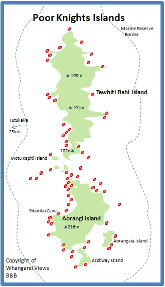 Map of the Poor Knights Islands Dive sites